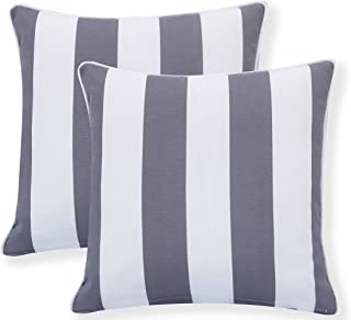 Ornavo Home Water Resistant Indoor/Outdoor Square Patio Decorative Stripe Throw Pillow Cushion - Insert Included - Set of 2 - 18