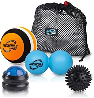 Invincible Fitness Therapy Massage Balls Set, Trigger Point Ball, Double Peanut Lacrosse Massager, Manual Muscle Roller Massage Ball, Spiky, Ideal for Self-Myofascial Release, Deep Tissue, Acupressure