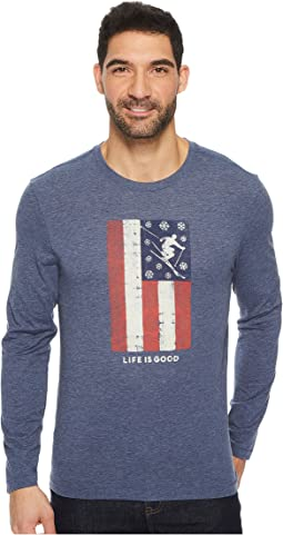 Life is Good - Ski Flag Long Sleeve Cool Tee