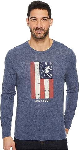 Life is Good - Ski Flag Long Sleeve Cool Tee