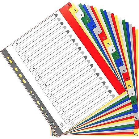 Exacompta - Réf. 90E - Intercalaires en polypropylène avec 20 onglets imprimés alphabétiques de A à Z en couleur - Page d'indexation imrpimable - Format à classer A4 maxi - Dimensions 24,5 x 29,7 cm