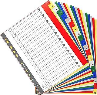 Exacompta - Réf. 90E - Intercalaires en polypropylène avec 20 onglets imprimés alphabétiques de A à Z en couleur - Page d'...
