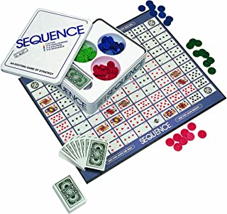 Jax Sequence in a Tin - Original Sequence Game with Folding Board, Cards and Chips, Multi Color, 5""