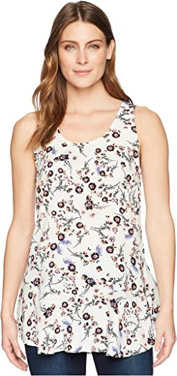 Mod-o-doc - Printed Rayon Woven Scoop Neck Tank Top w/ Flounce Hem