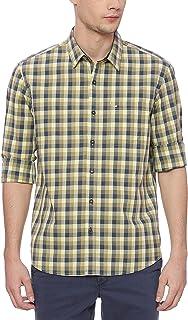 BASICS Slim Fit Dusty Yellow Checks Shirt