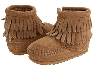 Minnetonka Kids Double Fringe Side Zip Bootie (Infant/Toddler) (Taupe Suede) Girls Shoes