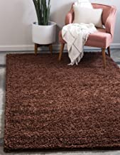 Unique Loom Solo Solid Shag Collection Modern Plush Chocolate Brown Area Rug (8' 0 x 10' 0)