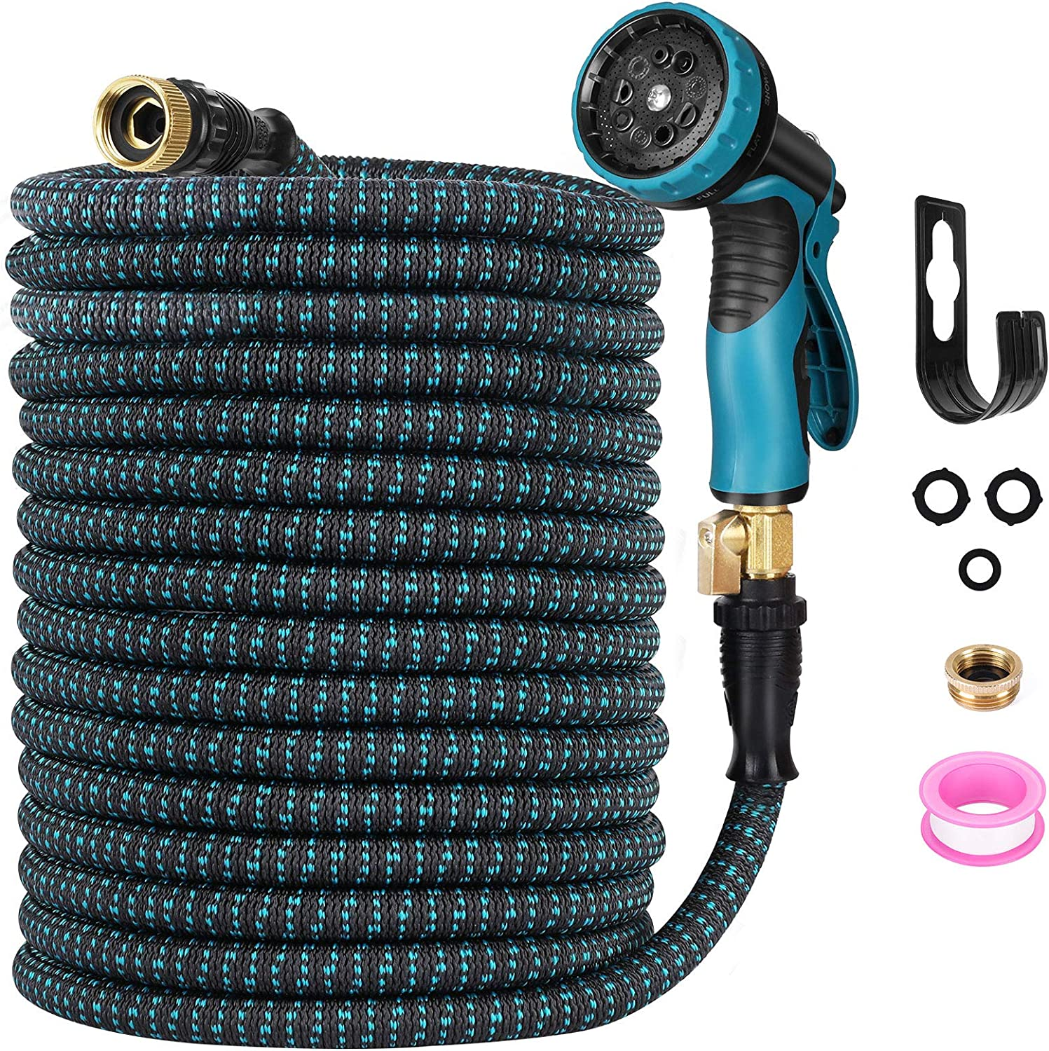 Expendable Garden Hose, Homga 100FT Garden Water Hoses with 9 Function Nozzle, 3-Layers Latex, Heavy Duty Kink Free Water Hose with 3/4