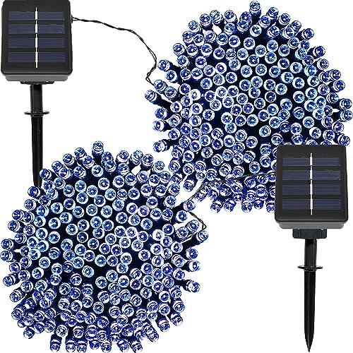 high quality Sunnydaze Set of online sale 2, 68 Foot 200-Count Solar Powered String Lights Outdoor online sale Decorative, Blue sale