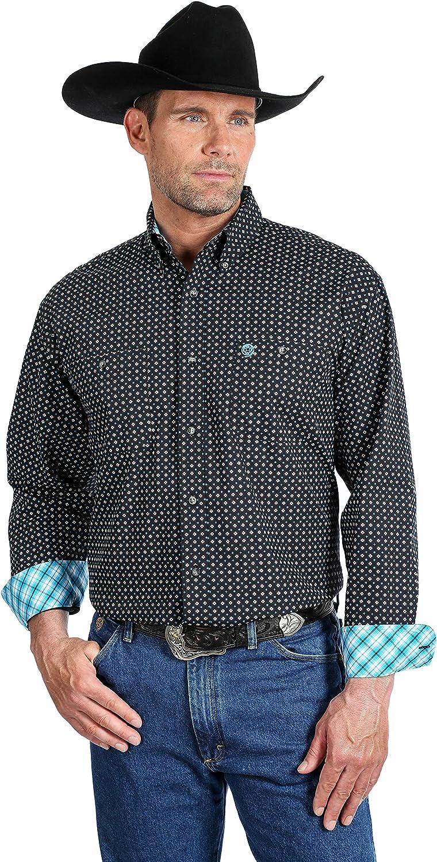 Wrangler Men's George Strait by Small Diamond Geo Print Long Sleeve Western Shirt Black XX-Large Tall