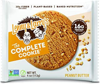 Lenny & Larry's The Complete Cookie, Peanut Butter, Soft Baked, 16g Plant Protein, Vegan, Non-GMO, 4 Ounce Cookie (Pack of 6)