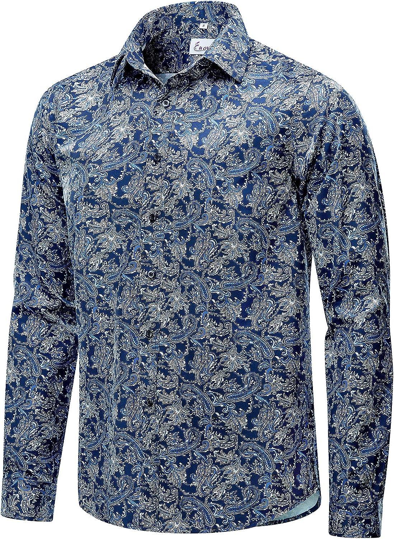 EUOW Mens Hawaiian Shirts Floral Printed Dallas Mall Long Max 51% OFF Butt Casual Sleeve