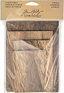 Tim Holtz Idea-Ology Vignette Panel 4 Per Pack, 4-Sizes From 2.25 x 3.25 Inches To 4 x 5.5 Inches, Natural With Brown Matte Wood (TH93295)