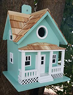 Home Bazaar Hand-Made Beachside Cottage Seafoam Blue Bird House - Nature Friendly- Seafoam Blue