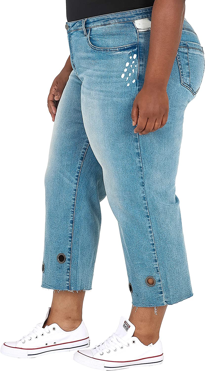 Poetic Justice Plus Size Curvy Women's Light Wash Grommet Cropped Mom Jeans