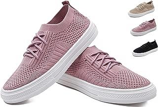 HAOJIALI Women's Flats Walking Shoes Mesh Lightweight Breathable Work Slip-Ons Sneakers