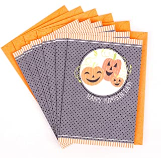 Hallmark Halloween Cards for Kids, Three Pumpkins (6 Cards with Envelopes)