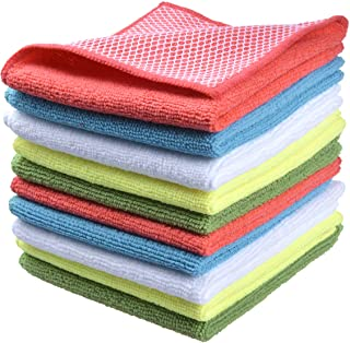SINLAND Microfiber Dish Cloth for Washing Dishes Dish Rags Best Kitchen Cloths Cleaning Cloths with Poly Scour Side 5 Colo...