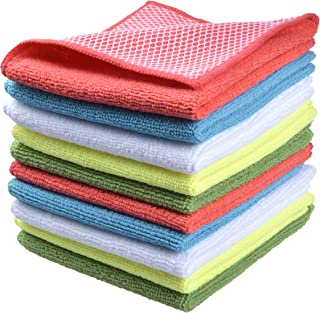 Sinland Microfiber Dish Cloth for Washing Dishes Dish Rags Best Kitchen Cloths Cleaning Cloths With Poly Scour Side 5 color assorted 12