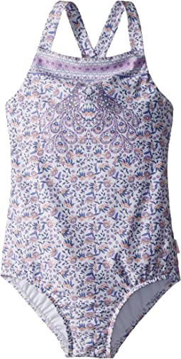 Seafolly Kids - Peacock Paisley Ruffle Tank One-Piece (Toddler/Little Kids)
