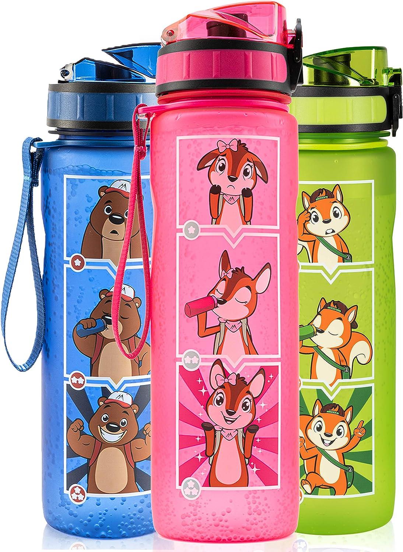 Monte Stivo® Friends Botella Agua niños | 600ml sin BPA cantimplora Infantil | El Regalo Ideal para niño y niña para la Escuela y el Ocio