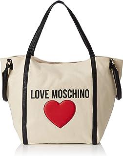 3ff243f5 Love Moschino - Borsa Canvas E Pebble Pu, Bolso de mano Mujer, Negro (