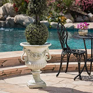 Christopher Knight Home 304068 Bunny Vista Outdoor White Moss Finish Light Weight Concrete Urn