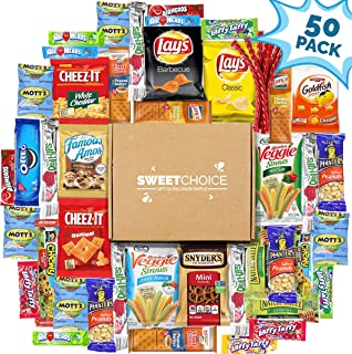 Sweet Choice (50 Count) Ultimate Sampler Mixed Bars, Cookies, Chips, Candy Snacks Box for Office, Meetings, Schools,Friends & Family, Military,College, Halloween , Snack Variety Pack