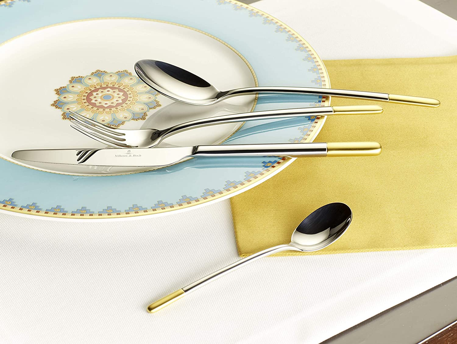 142 mm Stainless/_Steel Villeroy /& Boch Ella Partially Gold Plated Dinner Tea Spoon