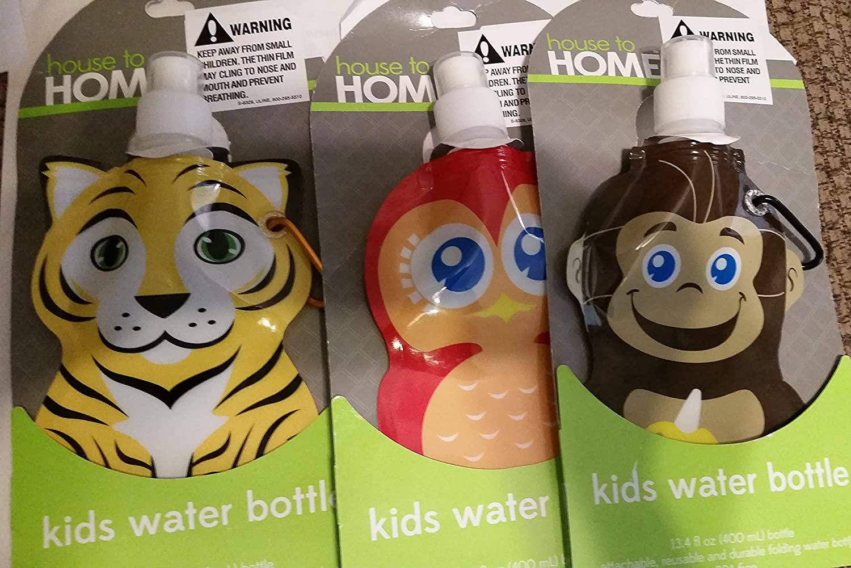 Kids Water Bottles 13.4 Fl oz Owl, Lion, Monkey (Pack of 3)
