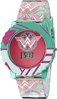 DC Comics Wonder Woman Girl's Digital Casual Watch with Flashing LED Lights, Color: Teal (Model: WOM4014)