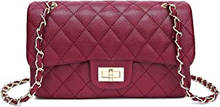 Jollque Caviar Leather Chain Crossbody Shoulder Bag for Women Quilted Purse