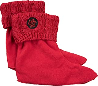Kids Warm Cozy Fleece Lined Rain Boot Liners Socks With Cable Knit Cuff