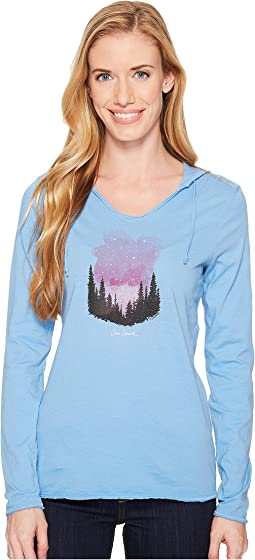 Star Struck Watercolor Hooded Long Sleeve Smooth Tee