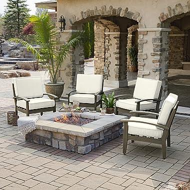 Arden Selections ProFoam EverTru Acrylic 24 x 24 x 6 Inch Outdoor Deep Seat Cushion Set, Sand Cream
