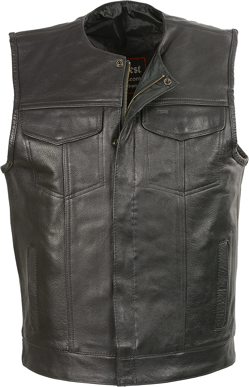 Club Vest Men's Collarless Snap/Zip Front Club Vest (Black, 2X), 1 Pack