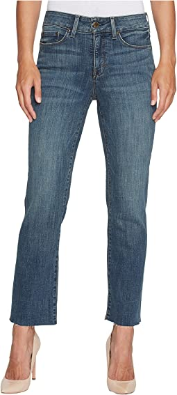 NYDJ Marilyn Straight Ankle Jeans w/ Raw Hem in Crosshatch Denim in Desert Gold