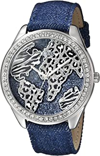 GUESS Women's U0504L1 Iconic Blue Denim Silver-Tone Watch with Wold Map