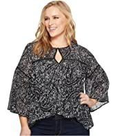 Lucky Brand Plus Size Printed Bell Sleeve Top