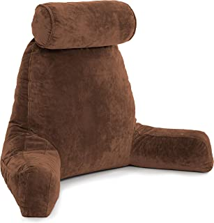 Husband Pillow - Chocolate, Big Backrest Reading Bed Rest Pillow with Arms, Plush Memory Foam Fill, Remove Neck Roll Off Bungee, Change Covers, Zipper On Shell of Bed Chair for Adjustable Loft