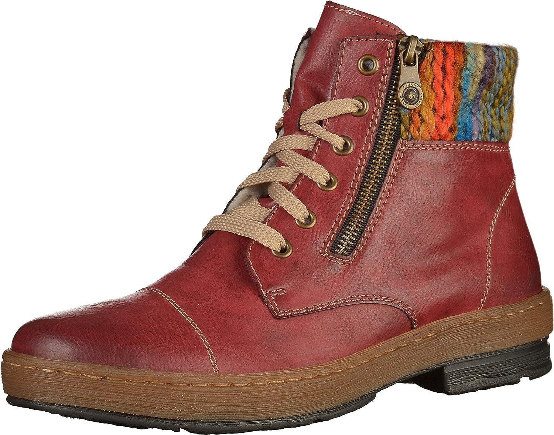 Rieker Z6721-35 Ladies Red Combo Boot (39 EU)