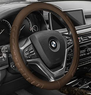 FH Group FH2006TAN Steering Wheel Cover (Microfiber Embossed Leather Tan)