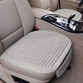 LUCKYMAN CLUB 2 Beige Car Seat Cushion for Front Seats with Lavender and Buckwheat Shell with Comfortable Breathable Fabric Sideless Seat Covers Fit for Cars Vans Trucks (2 PCS, Beige)