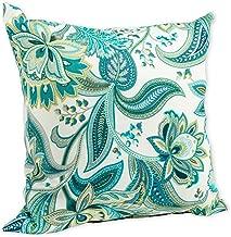 Gilford Lagoon Green and Aqua Paisley 16 x 16 Indoor Outdoor Throw Pillow