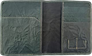 Chalk Factory Genuine Leather Dual Passport Case With Credit Card, Sim/Memory Card Slot (Green)
