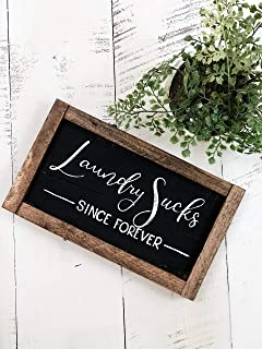 CELYCASY Laundry Sucks Since Forever Hand Painted Wooden Pallet Sign Home Decor 10x5