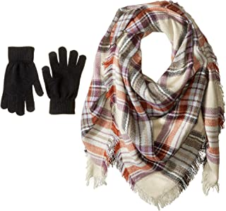 Womens Classic Plaid Square Blanket Wrap with Etouch Glove Set