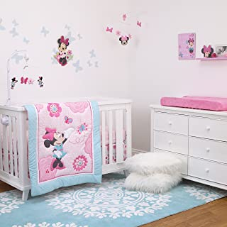 Disney Minnie Mouse 3-Piece Nursery Crib Bedding Set, Rose Pink/Bright Pink/Aqua/White