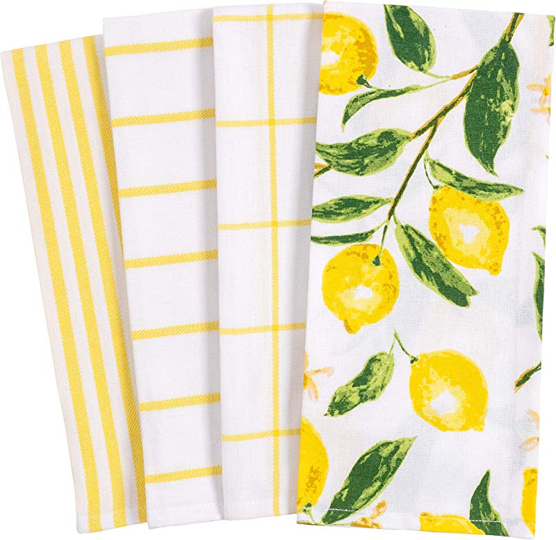 KAF Home Pantry Lemons All Over Kitchen Dish Towel Set Of 4 100 Percent Cotton 18 X 28 Inch