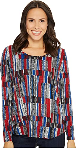 Tribal - Long Sleeve Printed Suede Knit Shirttail Top